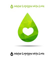 Triangle logo of drop ecology logo with heart vector image