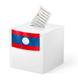 Ballot box with voting paper Laos vector image