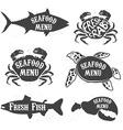 seafood menu labels vector image