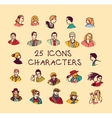Set colors people icons characters vector image