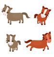 set of cute horses set of cute horses vector image