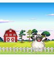A happy sheep near the barn vector image vector image