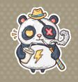 cartoon smoking panda vector image vector image
