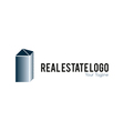 Real estate logo metallic vector image