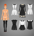 dress up paper doll with an assortment of classy vector image vector image