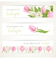 Pink and white tulips on three horizontal banner vector image vector image