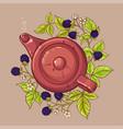 blackberry tea in teapot vector image