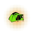 Blue dome tent icon comics style vector image