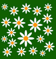 chamomiles on green background vector image