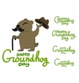 Lettering for Groundhog Day groundhog with a vector image