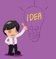 Man Thinking Drawing Lamp Idea vector image