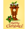 New Year greeting card with clock and pine tree vector image