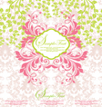 pink and green abstract floral invitation vector image vector image