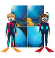 scuba divers and scene underwater vector image vector image
