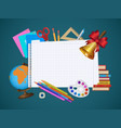 empty notebook page and student items banner vector image