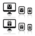 Shopping online internet shop icons set vector image