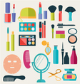 make-up-beauty cosmetic icons-set vector image
