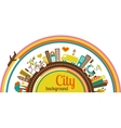 City background with icons and elements vector image