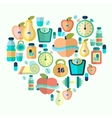 Heart symbol with fitness flat icons vector image