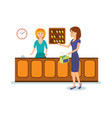 receptionist serves client gives key to room vector image