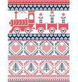 Nordic Christmas pattern with gravy train vector image