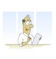 Fun cartoon man filling form vector image