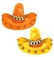 Orange and yellow sambrero in cartoon style vector image