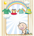 A baby girls clothes hanging vector image