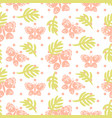 pink palm leaves and butterflies seamless vector image