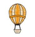 color crayon stripe hot cartoon air balloon vector image
