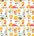 Seamless girl doing different activities vector image vector image