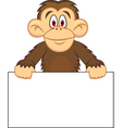 chimpanzee cartoon with blank sign vector image vector image