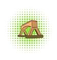 Wooden bridge icon comics style vector image