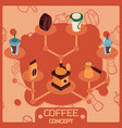 coffee color isometric concept icons vector image