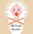 new born girl announcement template baby cartoon vector image