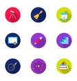 School set icons in flat style Big collection of vector image
