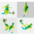 Soccer player kicks the ball with paint splatter vector image