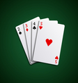 Four poker playing cards hand together vector image
