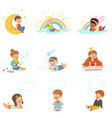 happy kids dreaming and fantasizing cartoon vector image