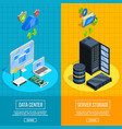 server hardware vertical banners vector image