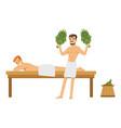 smiling man wearing towel massaging another man vector image