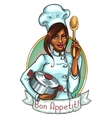 Pretty Chef with pot and spoon vector image
