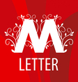 logo the letter M with vegetable patterns vector image