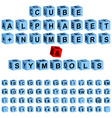 cube alphabet numbers vector image