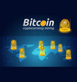 golden bitcoin in shining light effect on world vector image