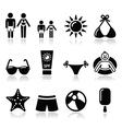 Summer beach holidays icons set vector image