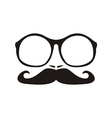 Men face with mustache and huge nerd glasses vector image vector image