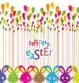easter bunnies colorful background vector image vector image