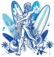 poseidon surfer on surfboard background vector image