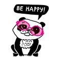 Ecology panda in pink glasses be happy vector image